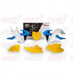 Kit plastique 6 pièces R'Tech bleu/jaune/blanc pour KTM (2016-2017)