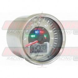 Compteur de vitesse Koso D64 GP Style rond universel chromé