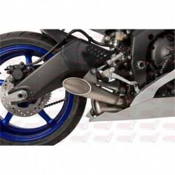 Silencieux HotBodies Racing Megaphone finition grillagé pour Kawasaki ZX10R (2008-2010) et ZX6R (2009-2018)
