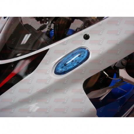 Paire Obturateurs de rétroviseurs/clignotants intégrés HotBodies couleur bleue pour Suzuki GSXR 600/750/1000 (2005-2016)