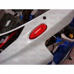 Paire Obturateurs de rétroviseurs/clignotants intégrés HotBodies couleur rouge pour Suzuki GSXR 600/750/1000 (2005-2016)