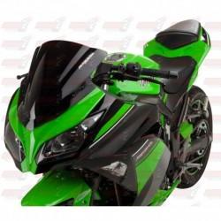 Bulle double courbures HotBodies Racing noire opaque pour Kawasaki Ninja 300 (2013-2017)