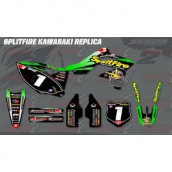 Kit décoration Kawasaki Retro Team Graphic Kit - Splitfire Kawasaki Green