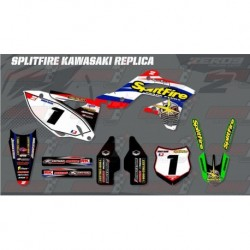 Kit décoration Kawasaki Retro Team Graphic Kit - Splitfire Kawasaki White